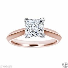 1.7 Ct Engagement Ring Princess Cut 14k Solid Rose Gold Bridal Jewelry
