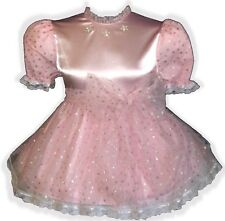 """Mallorie"" Custom Fit PINK Glitter STAR Adult LG Baby Sissy Dress & SASH LEANNE"