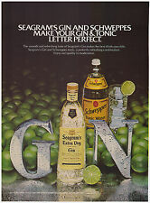 Original 1982 Seagram's Extra Dry Gin and Schweppes Tonic Water Print Ad