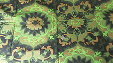 "Vintage Cotton Fabric SHADES OF GREEN & BROWN LARGE FLORAL 1 Yd/52"" Wide"