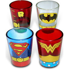 DC Comics Superheroes Uniform 4-Pack Shot Glasses Batman Superman Drink New