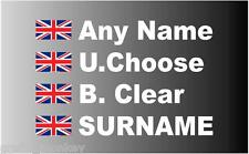 Union Jack Rally Car Name    decal sticker graphics