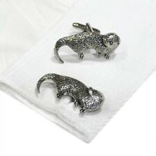 Silver Pewter Otter Cufflinks English Hand Made River Animal New