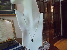 Vintage Gold over Sterling Silver, Victorian Malachite Cabochon Pendant Necklace