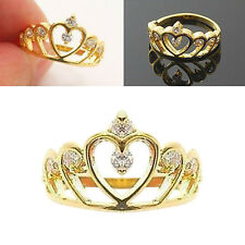 Elegant Women Gold plated Filled Rhinestone Crown Crystal Hollow Finger Ring