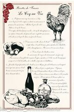 TORCHONS & BOUCHONS, COQ AU VIN RECETTE, FRENCH PRINTED KITCHEN / TEA TOWEL, NEW