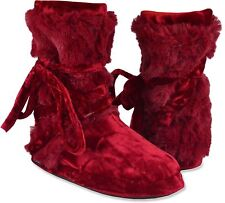MUK LUKS Tonal Fur Wrap Slipper Boots Velvet Red Color Size XL  NWT