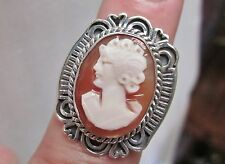 Genuine Cameo Ring in Sterling Silver sz 6.5