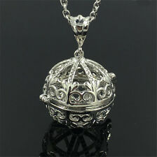 Silver Locket Necklace Fragrance Essential Oil Aromatherapy Diffuser Pendant B2