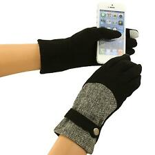 Ladies Winter Fancy Tweed Button Wool Smart Phone Touch Screen Gloves Black S/M