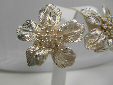 Tiffany & Co Flower Earrings Sterling Silver Vintage Pierced Omega Rare, Pouch