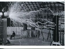 POST CARD OF A PORTRAIT OF THE GREAT INVENTOR TESLA'S ELECTRICAL EXPERIMENTS