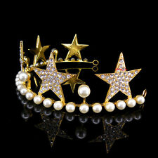 Lovely Gold Stars Pearl Clear Crystal Wedding Party Pageant Prom Tiara Crown