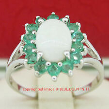 Genuine Emerald Opal Solid Silver Engagement Wedding Halo Ring White Gold Finish