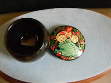 Wood Trinket Box Hand Painted Picture of Lady On the Lid- Small