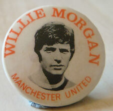 Manchester united player de 1968-1975 willie morgan badge 31mm x 31mm