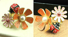 R116 BETSEY JOHNSON Pomander Kissing Two Ladybug Flower Beetle Lily Ring US