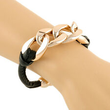 PU Leather Link ID Cute Chunky Chain Plastic Gold Plated Cuff Celebrity Bracelet