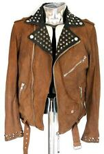 Men's Diesel L-Ulisse Biker Leather Jacket Brown / Black Large RRP £640 Studded