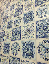 Moroccan Tile Effect, Washable Kitchen / Bathroom Wallpaper  In Blues & Cream