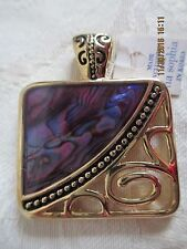 NWT LIA SOPHIA ABALONE PAUA PURPLE GOLDTONE NECKLACE SLIDE-ON PENDANT~STRIKING!