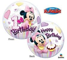 "22"" BUBBLE BALLOON ""MINNIE MOUSE 1ST BIRTHDAY"" PARTY DECORATION - STRETCHY"