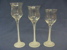 Partylite Tealight, 3 Votive Candle Holders Frosted Stem Clear Cup, 3 Sizes