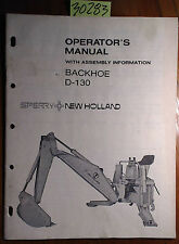 New Holland D-130 Backhoe Owner's Operator's with Assembly Manual 43650132 6/79