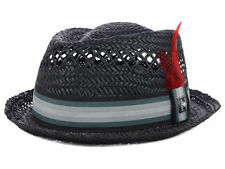 Peter Grimm Cooler Pork Pie Fedora Trilby Hat Cap Straw Black with Feather PTG