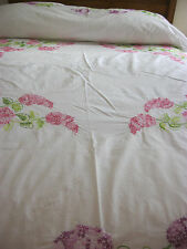 GORGEOUS VINTAGE HAND EMBROIDERED SUMMER SHEET/COVERLET-PINK AND PURPLE HYACINTH