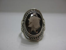 FACETED SMOKEY QUARTZ & SOLID 925 STERLING RING  sz9.25 - **BOHO BEAUTIFUL!!**