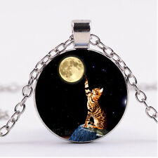 Photo Cabochon glass necklace Silver charms pendant(Cat Touch the moon)