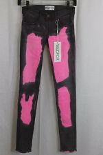 GIRLS WILDFOX GRAY PINK TIE DYE SKINNY LEG JEANS SIZE 25 NEW W TAGS MADE IN USA