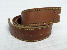 GUC Mens Brown leather Belt 40 Green /Yellow Thread John Deere Color no buckle