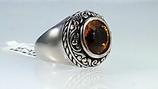 SAMUEL B Sterling silver & 18k yellow gold ring with a round cut Citrine