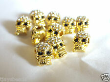 10 x Crystal Pave Alloy Skull Beads Rhinestones Drilled Side Holes Bracelets