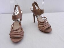 Used Womens 8 M MICHAEL Michael KORS Taupe Leather Stiletto High Heel Sandals