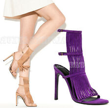 $650 GUCCI SHOES BECKY PURPLE SUEDE FRINGED HIGH HEEL SANDAL sz 36 / 6