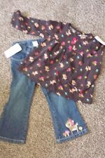 Gymboree Woodland Friends Brown Corduroy Top Shirt & Jeans Pants Deer 2T New NWT