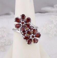 925 Sterling Silver and Garnet Double Flower Ring Size 8 Rhodium Plated