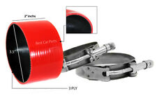 """RED Silicone Coupler Hose 3.5"""" 89 mm + T-Bolt Clamps Air Intake Intercooler JP"""