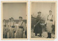 2 x Foto Soldaten im Drillich / MG  (948)