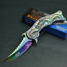 DARK SIDE BLADES Rainbow Dragon Scale Handle Spring Assisted Knife New!