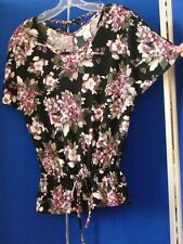 EUC Beautiful FLORAL Print TUNIC Top by CANDIE'S Sz S UNIQUE Cross Braided BACK