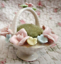 Vintage Shabby Rose Ceramic Basket Pin cushion Floral PInk Blue Yellow White
