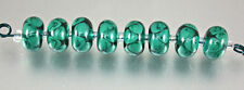 8 Dark Teal and Transparent Light Teal Handmade Lampwork Glass Donut Beads SRA