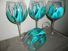 Wine glasses Turquoise and Teal Hand painted