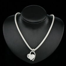 Heart 925 Sterling Silver Beautiful Luxury Necklace+Pendant