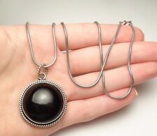 "DESIGNER KIM ROUND ONYX ROPE PENDANT NECKLACE STERLING SILVER 925 20"" LONG"