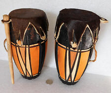 """2 African drums Wood goat-skin leather tribal musical percussion instruments 7"""""""
